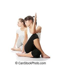 dois, womans, exercitar
