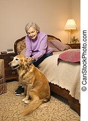 dojrzała kobieta, z, dog.