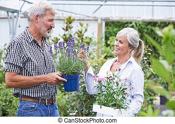 dojrzała para, wybierając, rośliny, na, ogrodowy środek
