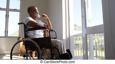 dojrzały, czarnoskóry, okno, dom, widok budynku, wheelchair, przeszkoda, człowiek, 4k, posiedzenie