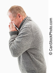 dojrzały, jego, podmuchowy, chory, nos, człowiek