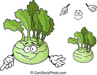 dojrzały, kalarepa, litera, roślina, uśmiechanie się, rysunek