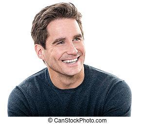 dojrzały, przystojny, człowiek, toothy uśmiechają się,...