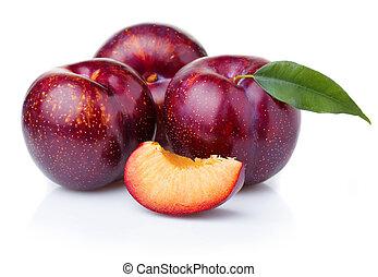 dojrzały, purpurowy, śliwka, odizolowany, zielony, owoce, biały, liście