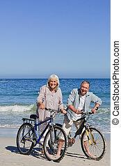 dojrzały, rowery, para, t, ich