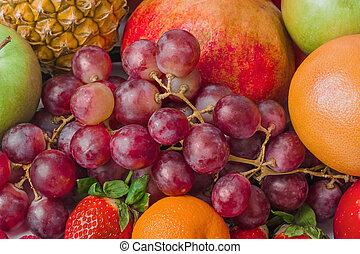 dojrzały, tło, owoce