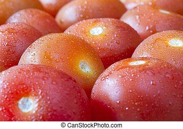 dojrzały, wiśnia, wizerunek, do góry szczelnie, pomidory