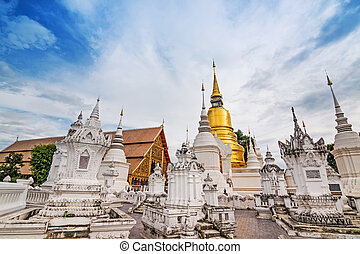 dok, suan, (monastery), chiang, thailand., mai, wat, tempio