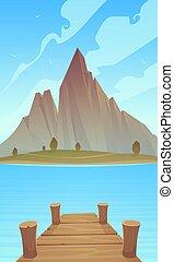 dokk, tó, hegy