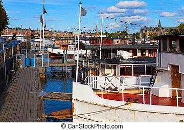dokowany, sztokholm, statki, szwecja