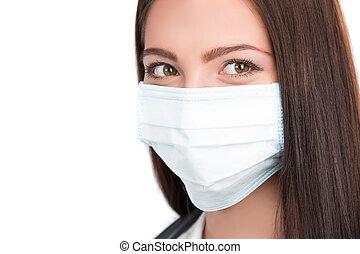 doktor, abnützende maske, chirurgisch