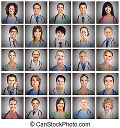 doktor, ansigter, collage.