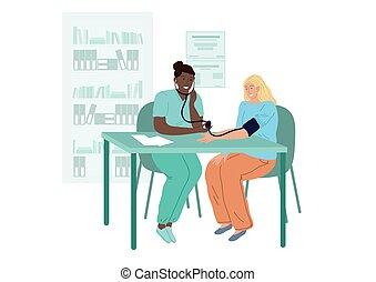 doktor, appointment., pressure., frau, patienten, blut, kardiologen, maßnahmen