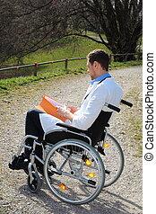 doktor, arbejder, ind, en, wheelchair