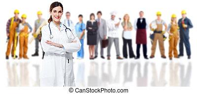 doktor, aus, group., medizin, lächeln, arbeiter