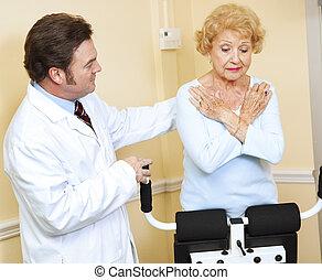 doktor, beaufsichtigt, physische therapie