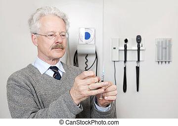 doktor, bereit, geben, impfung
