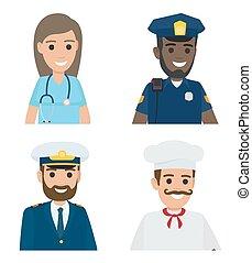 doktor, berufe, polizist, vektor, seemann, koch