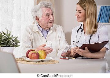 doktor, besøge, patient, hjem hos