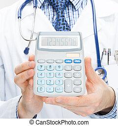doktor, besitz, taschenrechner, in, hände, -,...