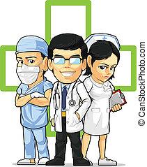 doktor, chirurg, pielęgnować, &