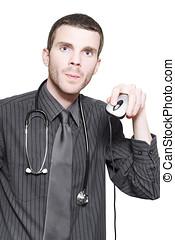 doktor, computer, online lægekunst, bruge, mus