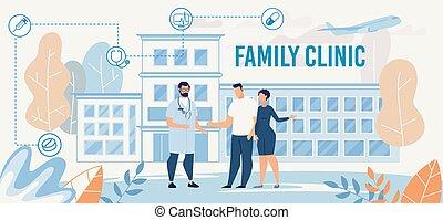 doktor, darstellung, klinik, familie, treffen, paar