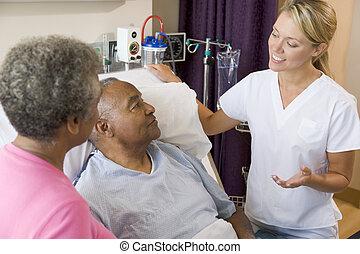 doktor, erklären, zu, ältere paare
