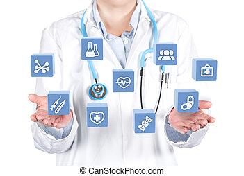 doktor, fremvisning, medicinsk, grænseflade, data, 3, illustration
