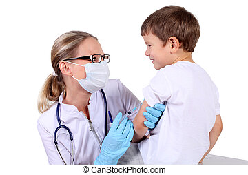doktor, gør, vakcine, injektion, til, barn