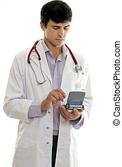 doktor, gebrauchend, technologie