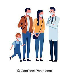 doktor, gesichtsmaske, 19, covid, gebrauchend, familie