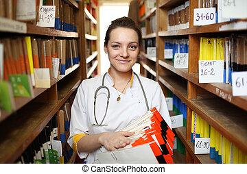 doktor, hos, medicinsk registrerer