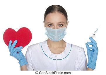 doktor, in, maske, shows, a, herz, symbol, und, spritze
