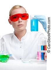 doktor, ind, spectacles, gør, noget, eksperimenterne