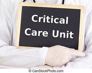 doktor, information:, kritisk omsorg, unit, show