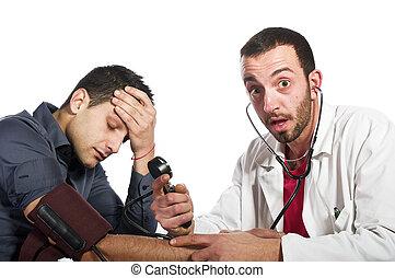 doktor, jest, zdumiony, przez, przedimek określony przed rzeczownikami, pacjent, warunek
