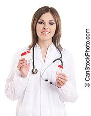 doktor, junger, freigestellt, attraktive, weibliche , weißes