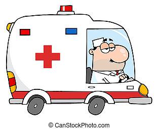 doktor, kørende, ambulance