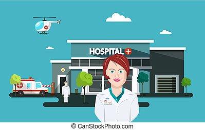doktor, kobieta, z, szpital, i, ambulans, wóz, na, tło., wektor, płaski, projektować, cartoon.