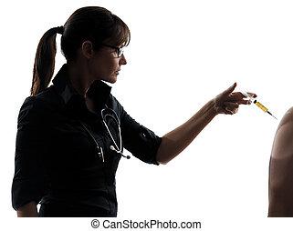 doktor kobiety, dzierżawa, chirurgiczny, igła, szczepienie, sylwetka