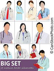 doktor, komplet, silhouet, medyczny, cielna