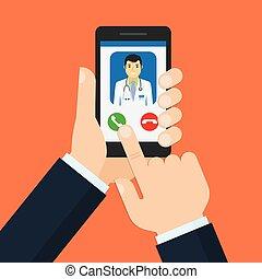 doktor, konsultacja, medyczny, rozmowa telefoniczna