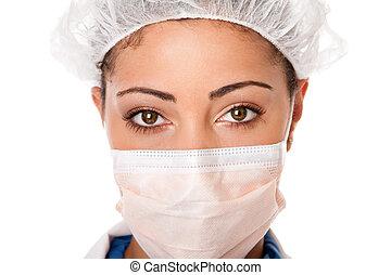 doktor, krankenschwester, augenpaar