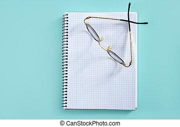 doktor, lærer, glas på, blank, spiral notesbog