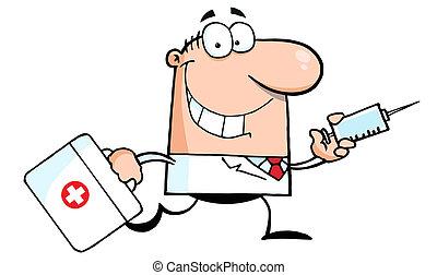 doktor, løb, hos, en, injektionssprøjte