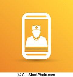 doktor, litera, ilustracja, telefon, stetoskop, dzierżawa, ...