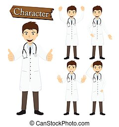doktor, litera, komplet, wektor, ilustracja
