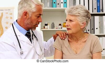 doktor, mówiąc, z, jego, pacjent