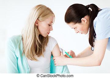 doktor, machen, impfstoff, zu, patient